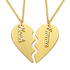 Personalized Couple Heart Necklace in Matte Gold Plating