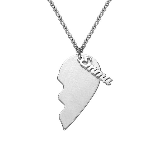 Personalized Couple Heart Necklace in Matte Silver - 1