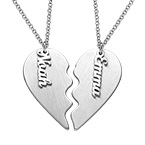 Personalized Couple Heart Necklace in Matte Silver
