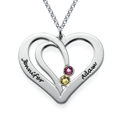c18d9096b36b9 Engraved Couples Birthstone Necklace in Sterling Silver | My Name ...