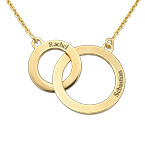 Engraved Eternity Circles Necklace in Gold Plating