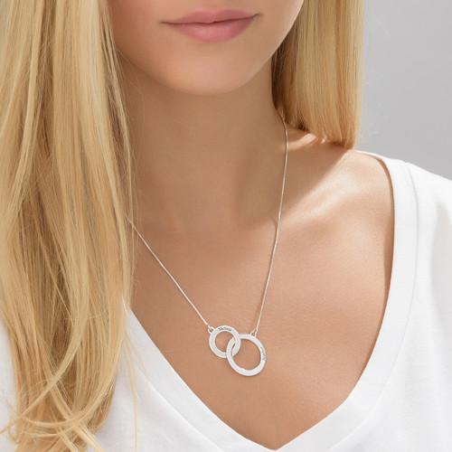 Engraved Eternity Circles Necklace in Silver - 1