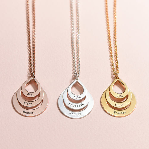 Engraved Family Necklace  Drop Shaped - 3