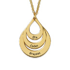 Engraved Family Necklace Drop Shaped in Gold Plating