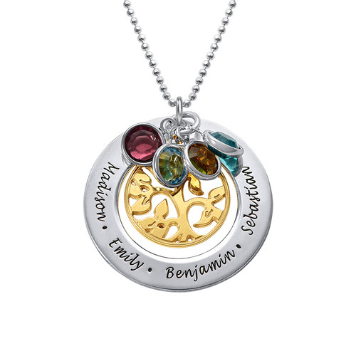 Engraved Family Tree 2 Tone Necklace with Swarovski Stones