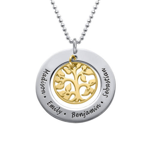 Engraved Family Tree 2 Tone Necklace with Swarovski Stones - 1