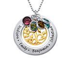 Engraved Family Tree 2 Tone Necklace with Swarovski Stones