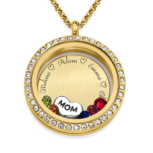 """Engraved Floating Charms Locket - """"For Mom or Grandma"""" with Gold Plating"""