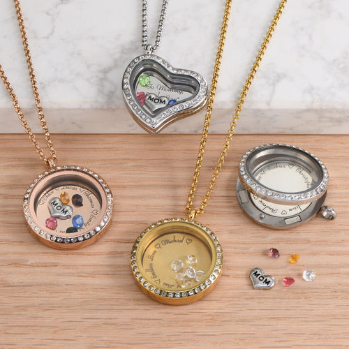 """Engraved Floating Charms Locket - """"For Mom or Grandma"""" with Gold Plating - 2"""