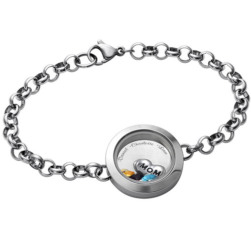 Engraved Floating Locket Bracelet For Mom Or Grandma