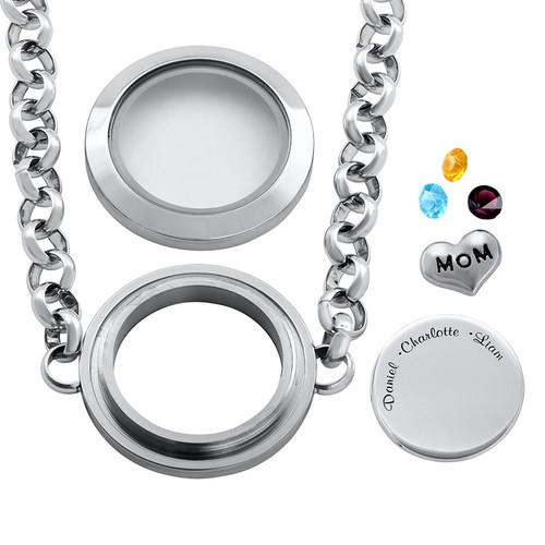 Engraved Floating Locket Stainless Steel Bracelet for Mom or Grandma - 1