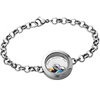 Engraved Floating Locket Stainless Steel Bracelet for Mom or Grandma