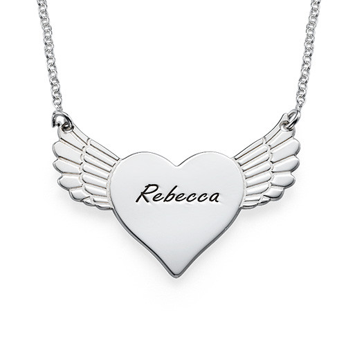Engraved Flying Heart Necklace
