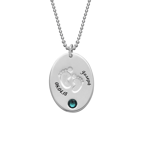 footprints engraved footprint print photo heart sterling necklace child one silver hand nc