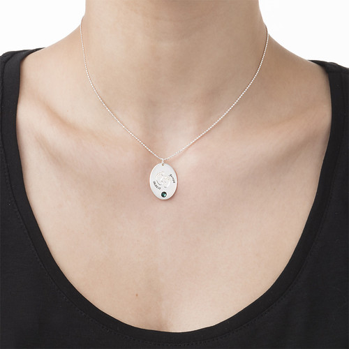 Engraved Footprint Necklace with Birthstone - 1