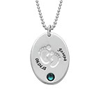 Engraved Footprint Necklace with Birthstone