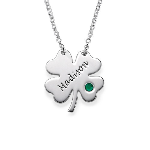 Engraved Four Leaf Clover Necklace