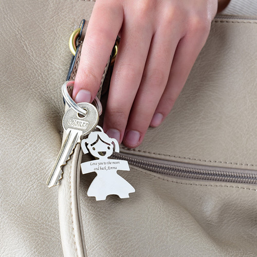 Engraved Girl Keychain in Sterling Silver - 1