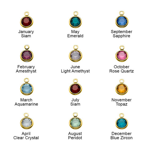 Engraved Harmony Necklace with Birthstone - Gold Plated - 1