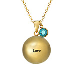 Engraved Harmony Necklace with Birthstone - Gold Plated