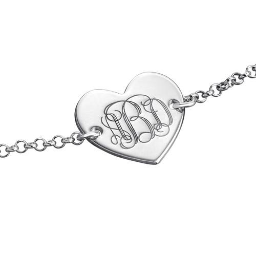 Engraved Heart Bracelet with Monogram - 1