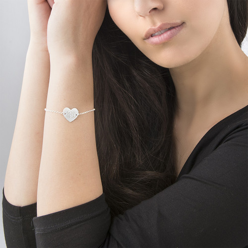 Engraved Heart Bracelet with Monogram - 2