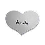 Engraved Heart Charm in Silver
