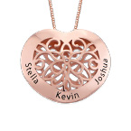 Engraved Heart Necklace in Rose Gold Plating