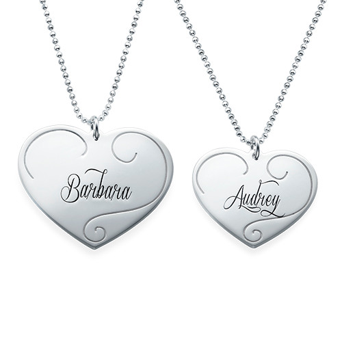Engraved Heart Pendants - Mother Daughter Jewelry - 1