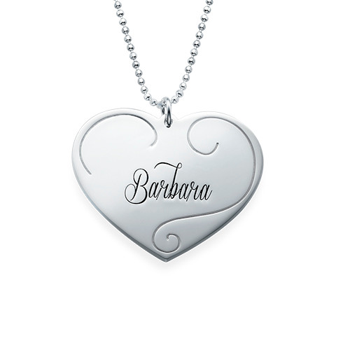 Engraved Heart Pendants - Mother Daughter Jewelry - 2