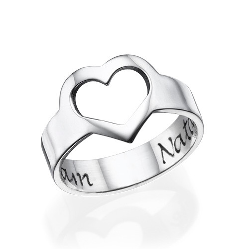 Engraved Heart Ring in Sterling Silver