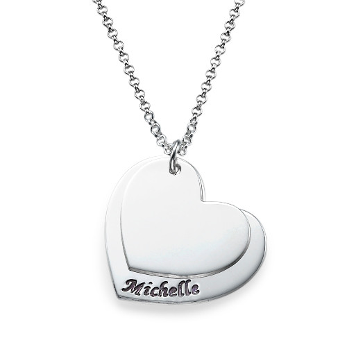 Engraved Hearts Necklace in Silver