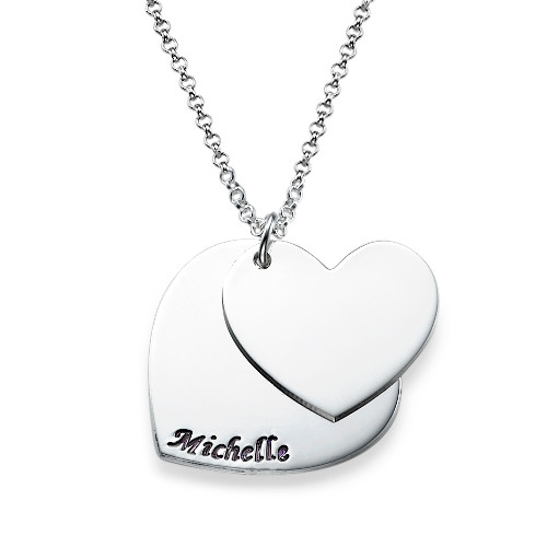 Engraved Hearts Necklace in Silver - 1
