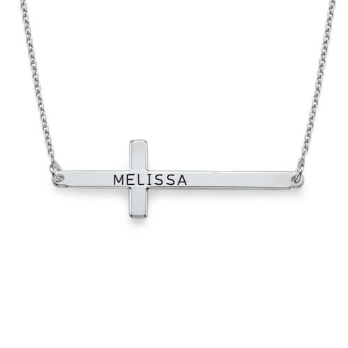 Engraved Horizontal Cross Necklace in Silver