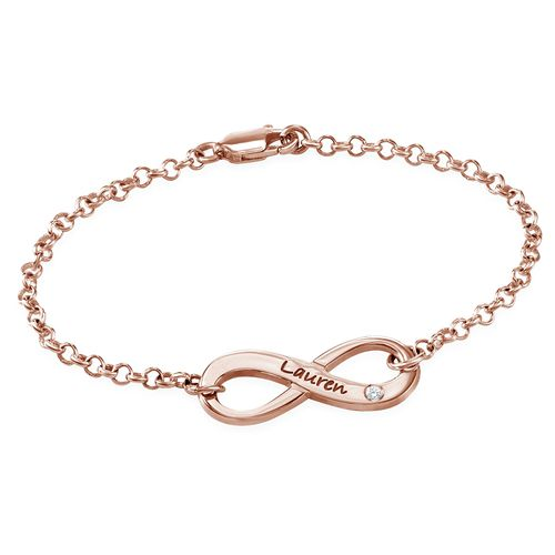Engraved Infinity Bracelet Rose Gold Plated with Diamond