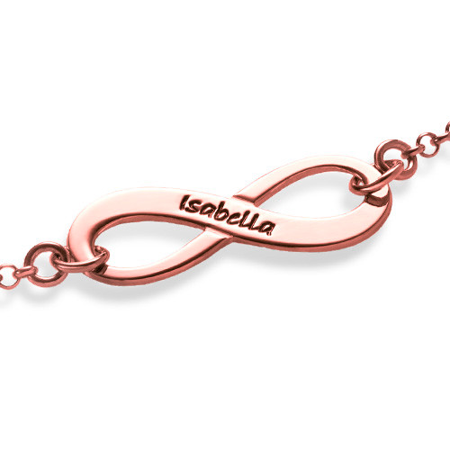 Engraved Infinity Bracelet with Rose Gold Plating - 1