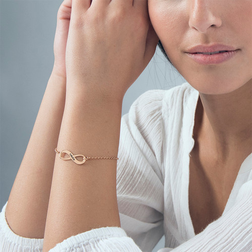 Engraved Infinity Bracelet with Rose Gold Plating - 2