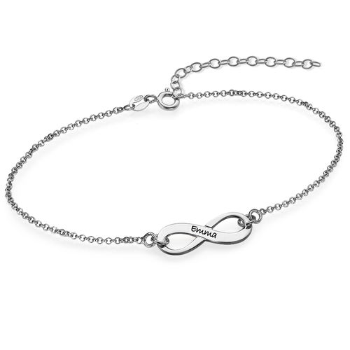 Engraved Silver Infinity Bracelet