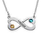 Engraved Infinity Heart Necklace with Swarovski
