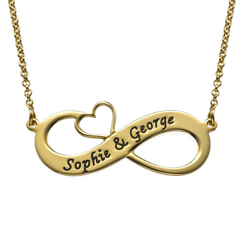 Engraved Infinity Necklace with Cut Out Heart with Gold Plating