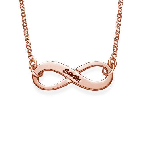 Engraved Infinity Necklace with Rose Gold Plating MyNameNecklace