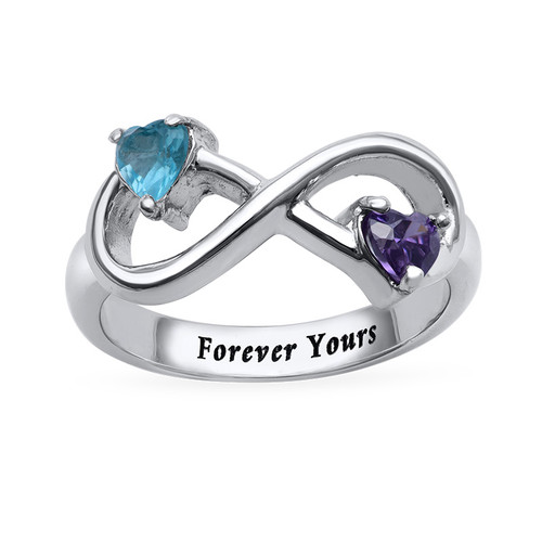 Engraved Infinity Ring with Heart Shaped Birthstones - 1