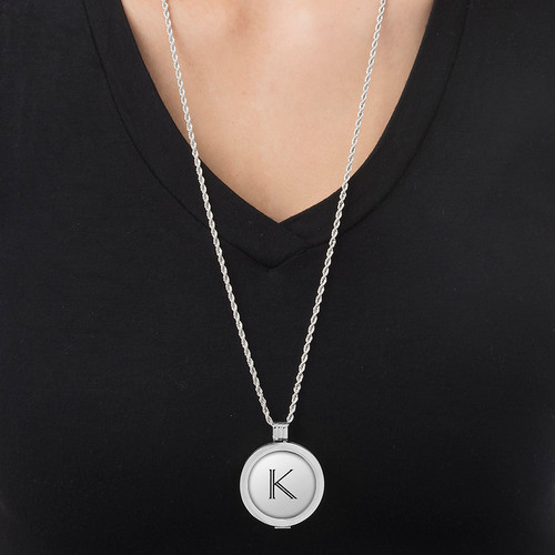 Engraved Initial Coin in Sterling Silver - 1