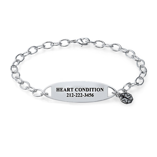 Engraved Medical ID Bracelet with Charm