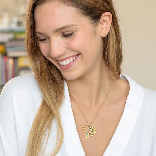 Engraved Mom Birthstone Necklace - 14K Gold - 1