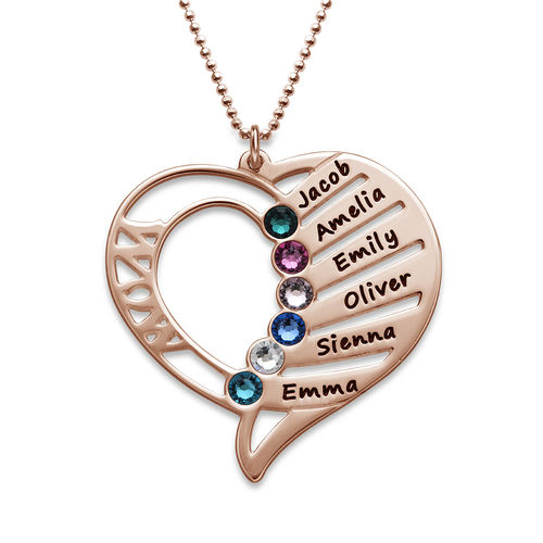 ccee56eb1476f Engraved Mom Birthstone Necklace - Rose Gold Plated