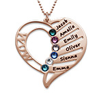 Engraved Mom Birthstone Necklace - Rose Gold Plated