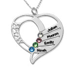 Engraved Mom Birthstone Necklace in 10K White Gold