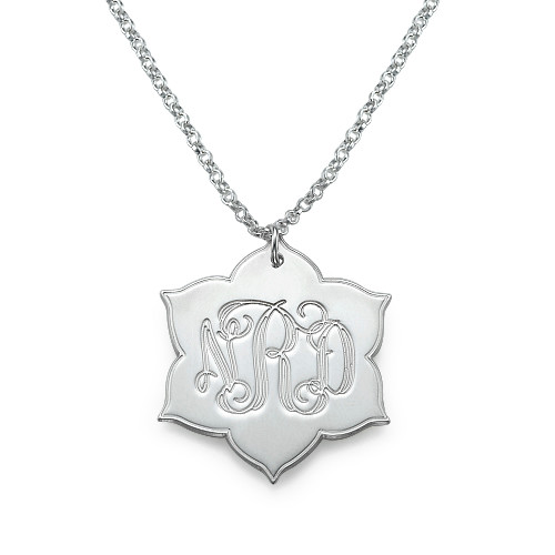 Engraved Monogram Necklace in Silver