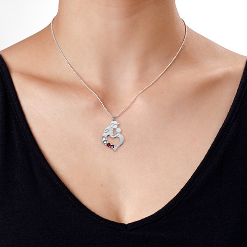 Mother's Child Necklace with Birthstones - 5